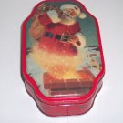 Santa tin, Red, Seasons Greetings encircle can, 7 1/2 in x 4 1/2 in x 2 in