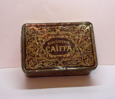 Antique Biscuiterie Caiffa Tin, French Tolware C1900, 7 x 4 3/4 x 3 inches