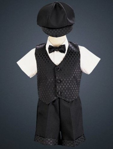 LITO Diamond vest & shorts set with cap, 3T, Black