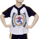 Marvel Spider-Man Shorts Set (2 PC) Navy, White & Yellow,Size 2T Spider-Man Top