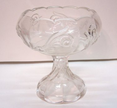 Pressed glass compote with etching, 7 x 6 inch diameter
