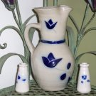 Salt glazed stoneware pottery Milk Pitcher with matching Creamers