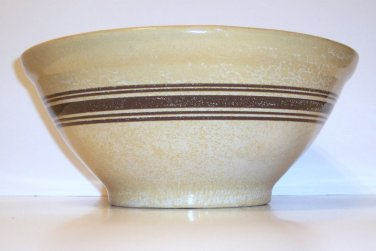Yellowware Mixing Bowl, Brown decorative rings, 13' dia. across top