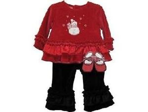 Velour Snowman Set with Shoes, Red & Black, 18 M