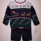 Santa's Sleigh and Reindeer Sweater Set, Green, 3T