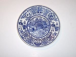 "3 Blue & White Commemorative Souvenir Plates and one 2"" Duck Plate."