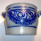 "Salt Glazed Stoneware Crock with Handles, Cobalt blue designs, 9"" High, 10"" Dia."