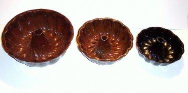 """Vintage Pennsylvania Redware Turks head Molds, Three Molds, 9"""", 7"""", 6"""""""