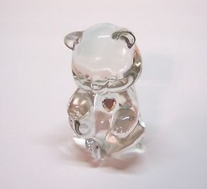 "Fenton Birthday Bear [ April] Clear 3"" tall"