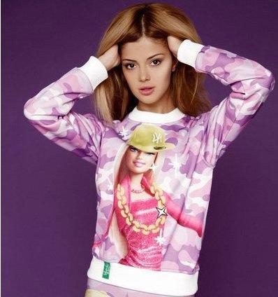 3D Sweatshirt Hip Hop Barbie Pink Purple Camouflage by Cali West Boutique
