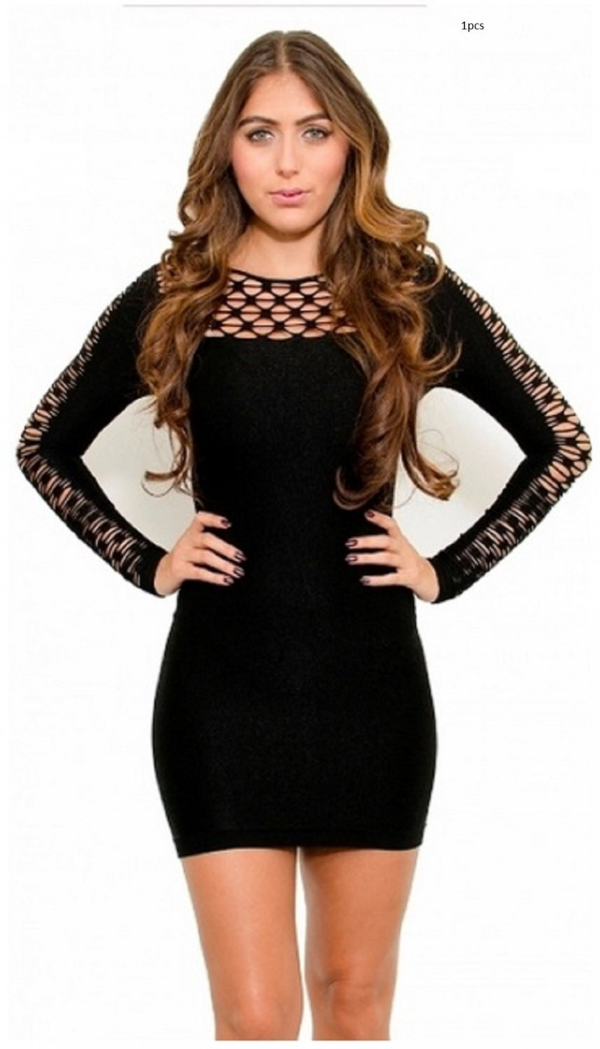 Bodycon Classic Long Sleeve Black Club Dress by Cali West Boutique