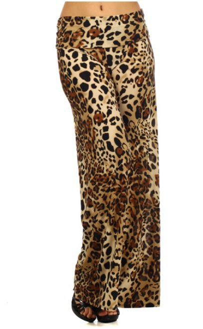 Palazzo Cheetah Animal Print Wide Leg Fold Over Waist Leggings by Cali West Boutique