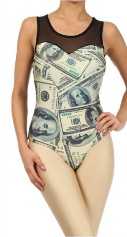 "Bodysuit ""100 Dollar Bill"" Money Print Top by Cali West Boutique"