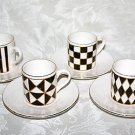 GORGEOUS HORNSEA  SILHOUETTE SET OF 4 BLACK WHITE & GOLD COFFEE CUPS & SAUCERS