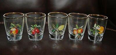 NICE RETRO 1960�S 5 GLASS SET FRUIT DESIGN WHISKY LIQUER GLASSES