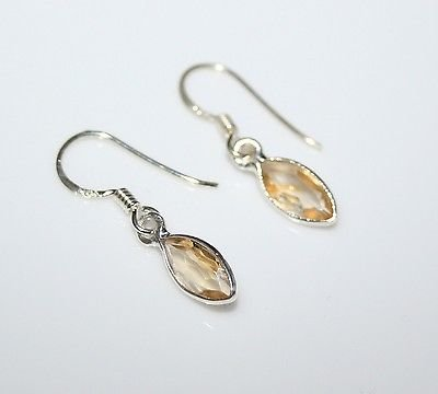 HANDCRAFTED STERLING SILVER 9MM X 4.5MM MARQUISE CITRINE SMALL DROP EARRINGS