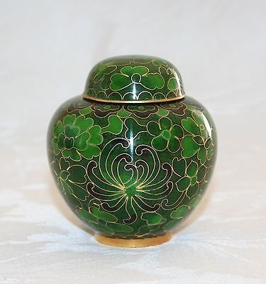 PRETTY VINTAGE CLOISONNE 3 1/4� MINI GINGER JAR