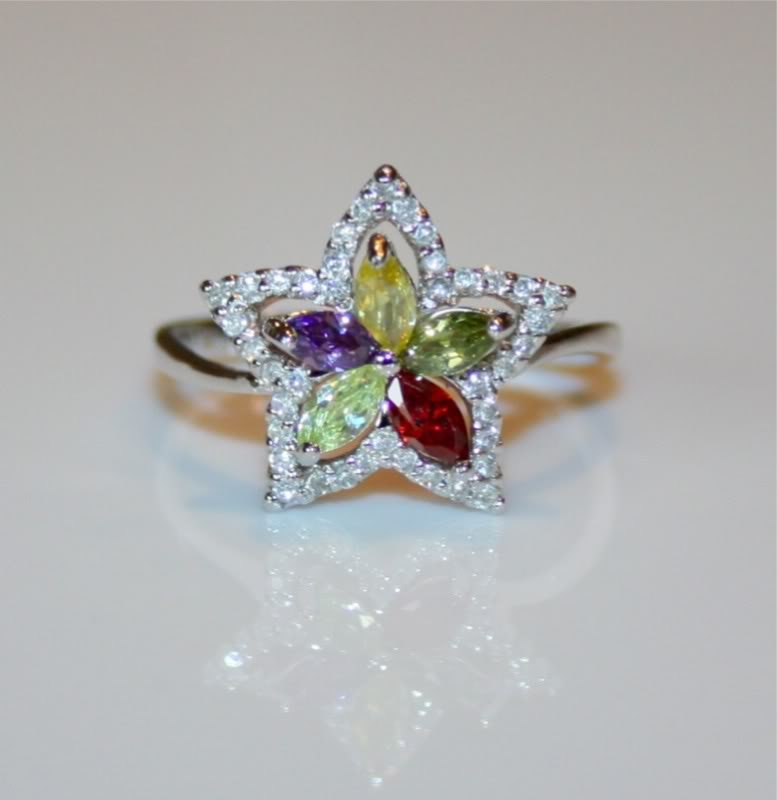 GORGEOUS STERLING SILVER MARQUISE CUT CZ RING SIZE O 1/2 US 7 1/4