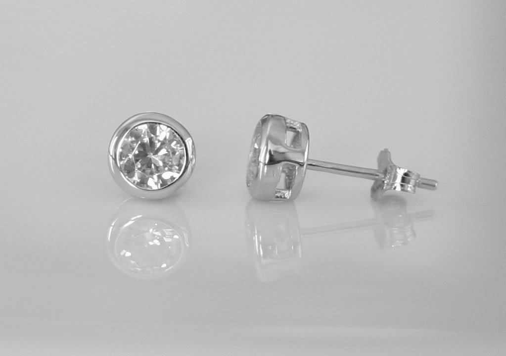 5MM 0.50CT SILVER BEZEL SET ROUND CZ SOLITAIRE EARRINGS