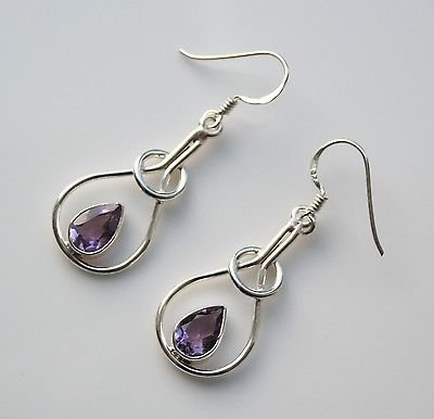 HANDCRAFTED STERLING SILVER ART NOUVEAU STYLE 3CT AMETHYST GEMSTONE EARRINGS