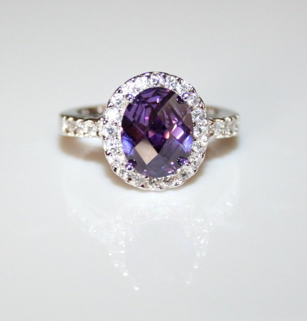 STERLING SILVER 10MM X 8MM 3CT OVAL AMETHYST CZ SOLITAIRE RING SIZE M US 6