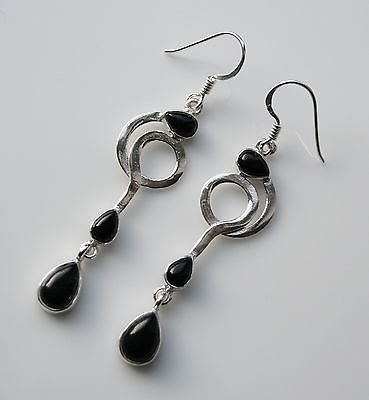 HANDCRAFTED ART DECO STYLE STERLING SILVER AND CABOCHON BLACK ONYX DROP EARRINGS