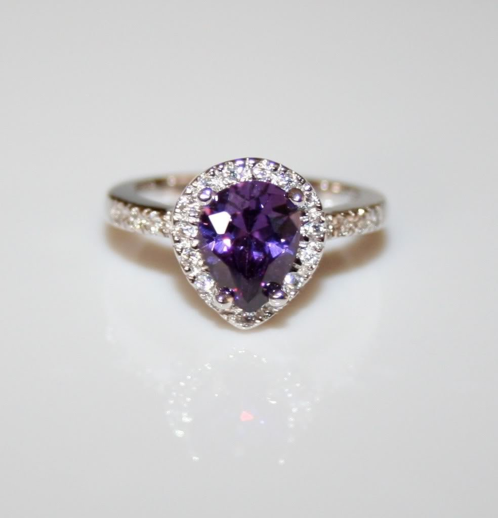 STERLING SILVER 9MM X 6MM 1.5CT PEAR CUT AMETHYST CZ SOLITAIRE RING SIZE K 1/2
