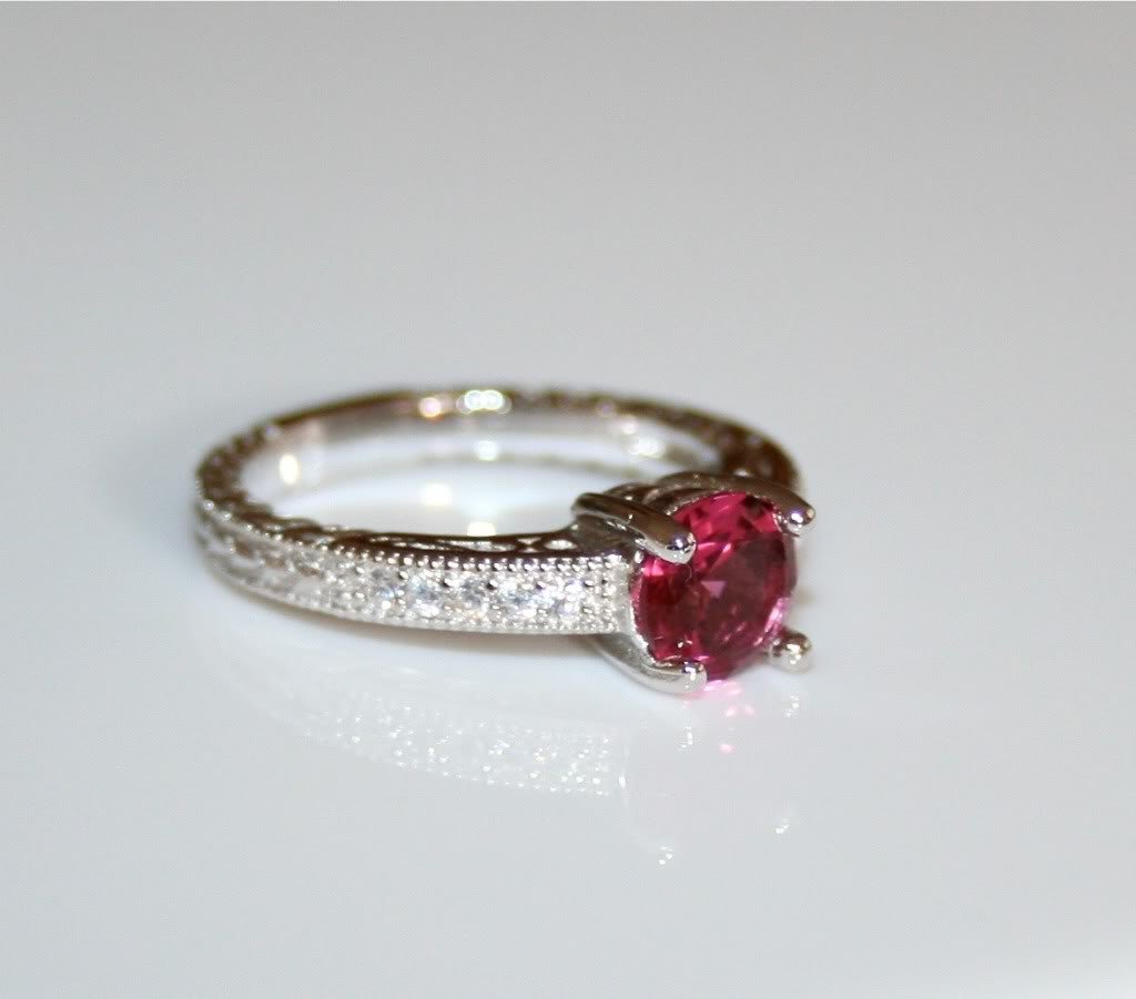 STERLING SILVER 6MM 0.75CT RUBY CZ MICRO SET SOLITAIRE FILLIGREE RING