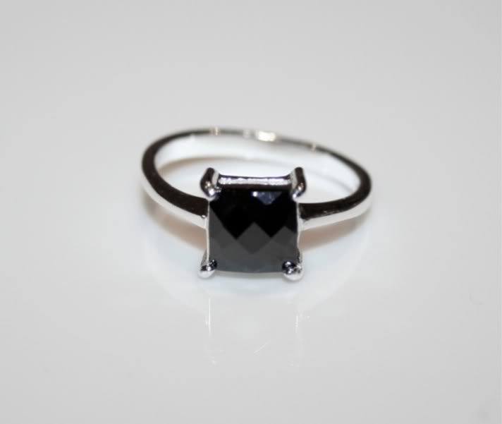 7MM 1.60CT PRINCESS CUT FACETED CZ SOLITAIRE SILVER RING SIZE N *IMPERFECT*