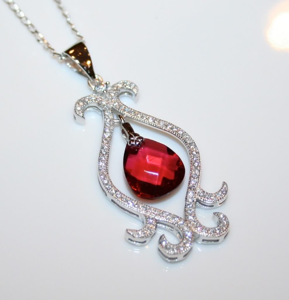 STERLING SILVER 11MM 3CT FACETED RUBY CZ DROP PENDANT & CHAIN