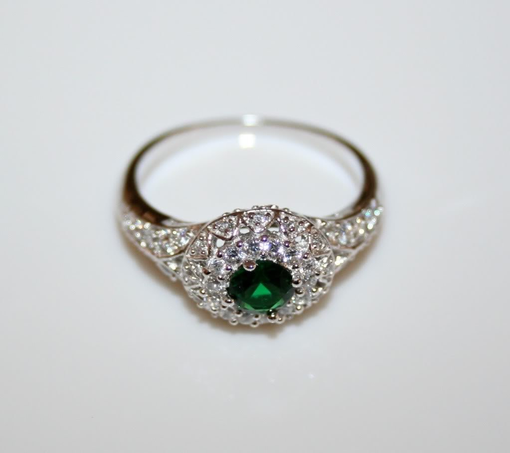 STERLING SILVER 4MM 0.25CT EMERALD CZ MICRO SET SOLITAIRE RING