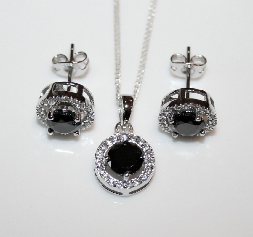 STERLING SILVER ROUND CUT BLACK ONYX CZ TWO WAY EARRING, PENDANT & CHAIN SET