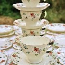 ROYAL TUSCAN c1920'S ART DECO HANDPAINTED FLORAL SET 4 CUPS, 6 SAUCERS, 9 PLATES