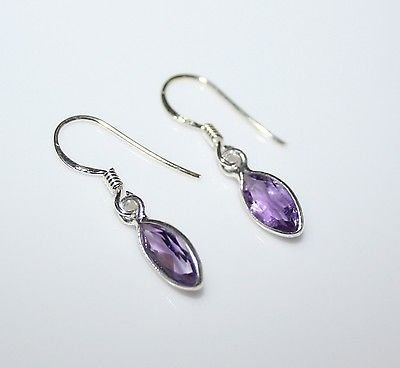 HANDCRAFTED STERLING SILVER 9MM X 4.5MM MARQUISE AMETHYST SMALL DROP EARRINGS