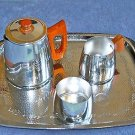 NICE 1960'S SONA ALUMINIUM TEAPOT, MILK JUG, SUGAR BOWL AND SERVING TRAY SET