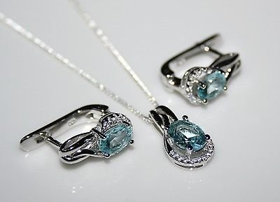 STERLING SILVER 2.75CT FACETED OVAL CUT BLUE TOPAZ CZ EARRING & PENDANT SET