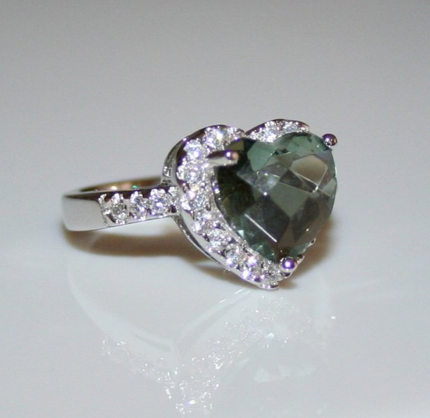 STERLING SILVER 10MM 3.5CT HEART CUT TOURMALINE CZ SOLITAIRE RING SIZE P 1/2