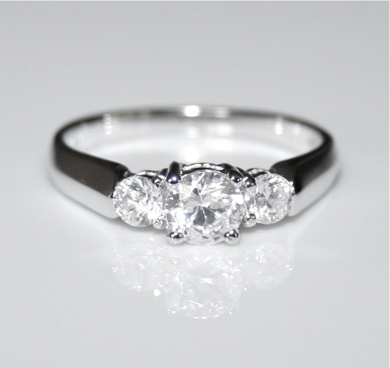 STERLING SILVER 5MM 0.50CT ROUND CUT CZ TRILOGY RING(SIZES J - R)