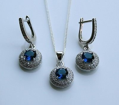 STERLING SILVER 1.50CT FACETED ROUND CUT SAPPHIRE CZ EARRING & PENDANT SET