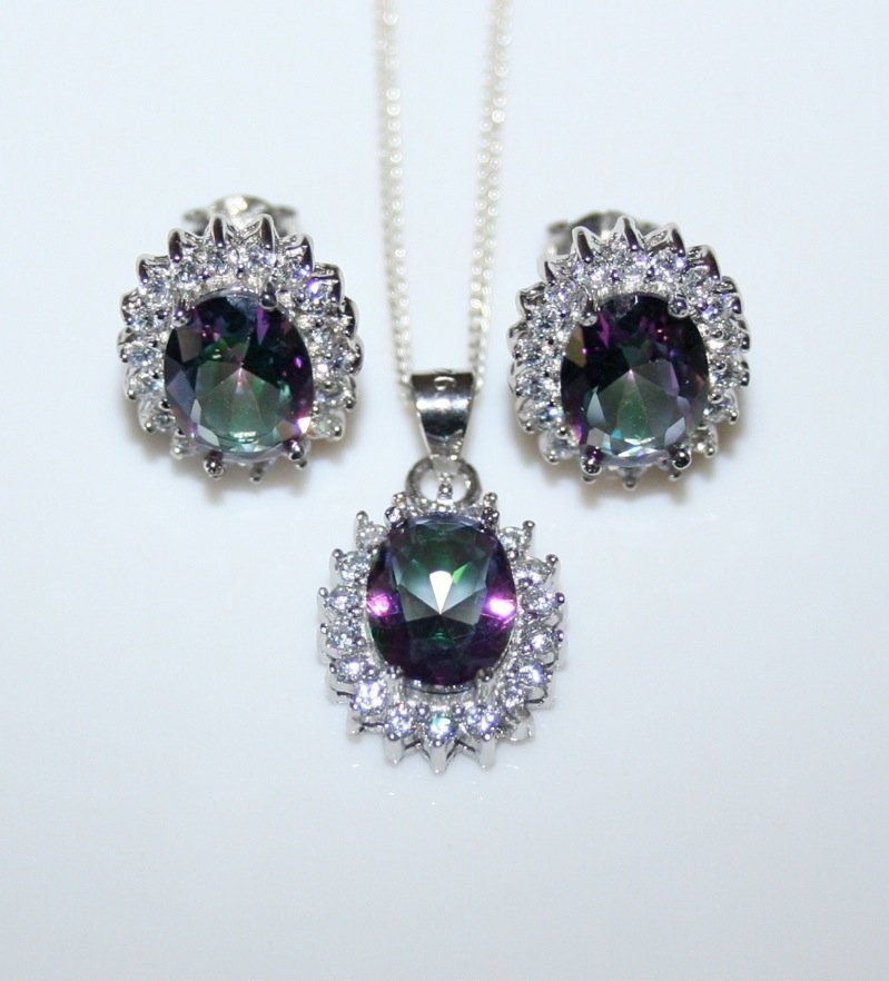 STERLING SILVER 6CT FACETED OVAL CUT MYSTIC TOPAZ CZ EARRING & PENDANT SET