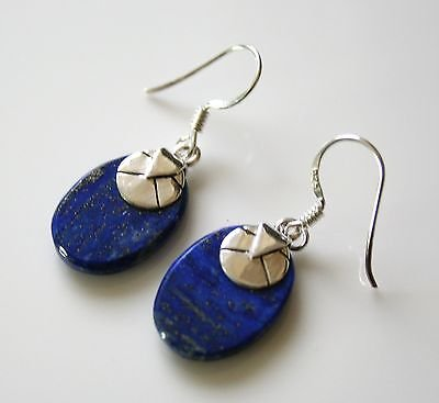 HANDCRAFTED STERLING SILVER AND LAPIZ LAZULI DROP GEMSTONE EARRINGS