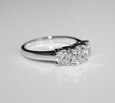 STERLING SILVER 6MM 1.75CT ROUND CUT CZ TRILOGY RING