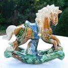 "6 3/4"" GORGEOUS VINTAGE HAND PAINTED GLAZED ROCKING HORSE FIGURINE"
