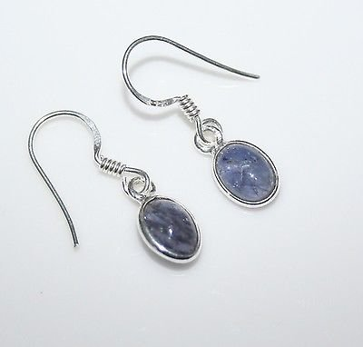 HANDCRAFTED STERLING SILVER 8MM X 6MM IOLITE GEMSTONE SMALL OVAL DROP EARRINGS