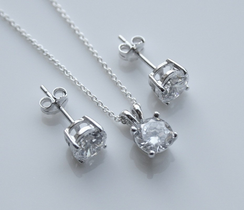 STERLING SILVER 6MM 2.25CT ROUND CUT CZ EARRING AND PENDANT SET + CHAIN
