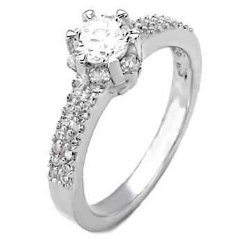 STERLING SILVER 5MM 0.50CT CZ SOLITAIRE RING SIZE L *IMPERFECT*