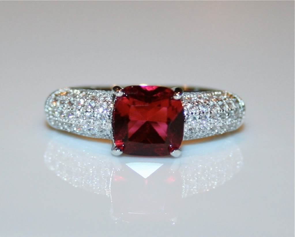 STERLING SILVER CUSHION CUT 7MM 1.28CT FACETED RUBY CZ PAVE RING SIZE M 1/2