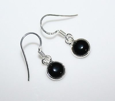HANDCRAFTED STERLING SILVER 7MM BLACK ONYX SMALL ROUND DROP EARRINGS