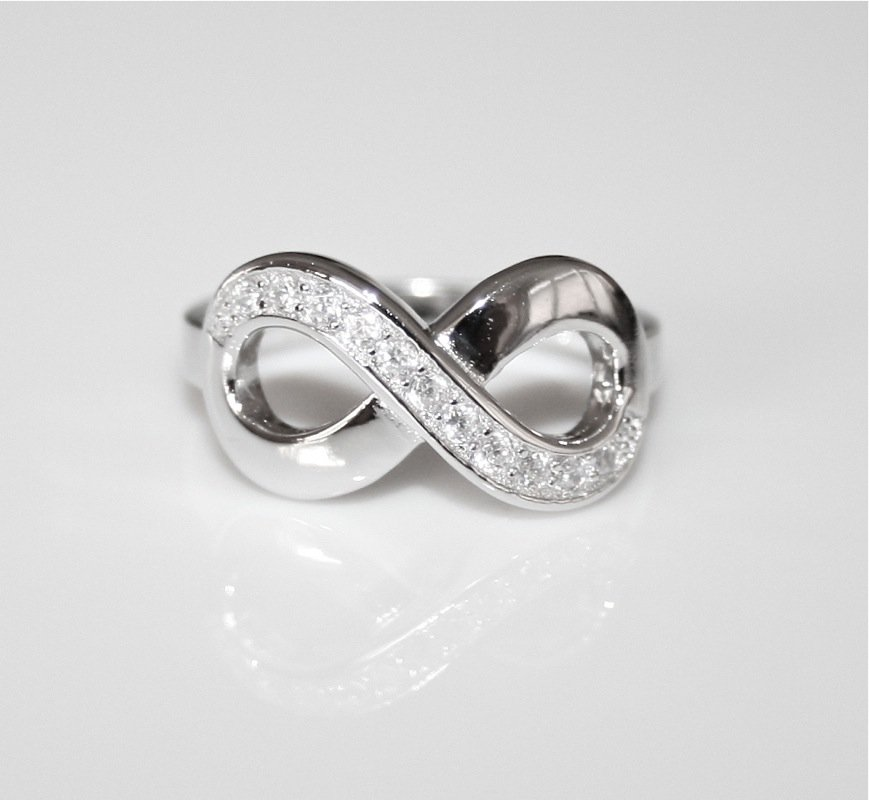 PRETTY STERLING SILVER PAVE CZ INFINITY RING