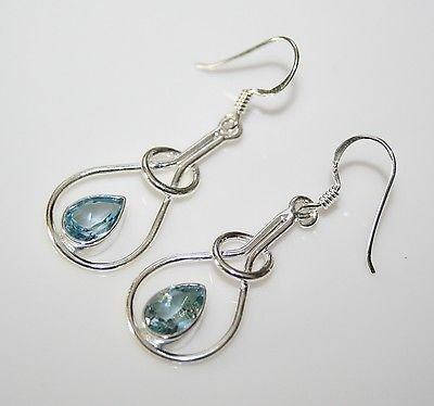 HANDCRAFTED STERLING SILVER ART NOUVEAU STYLE 3CT BLUE TOPAZ GEMSTONE EARRINGS
